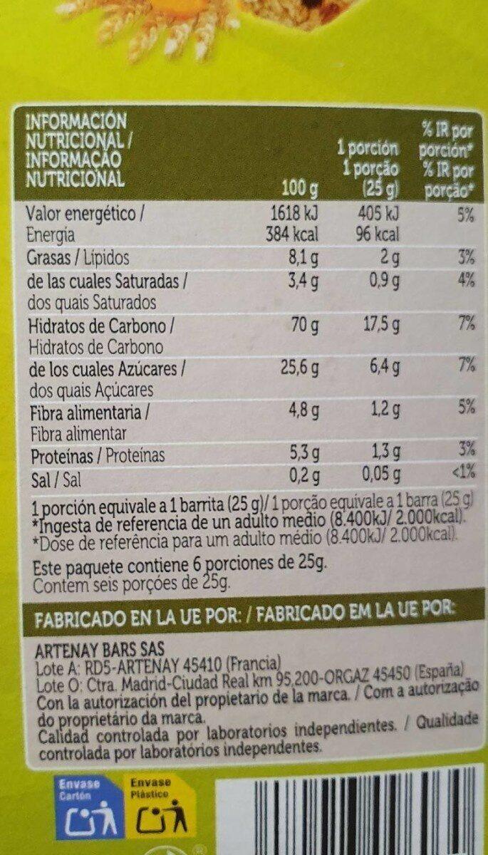 Barritas de Cereales. Manzana y albaricoque - Nährwertangaben - es