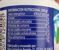 Chicles sabor menta fuerte sin azúcar - Información nutricional