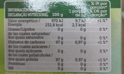 Stevia - Información nutricional - es