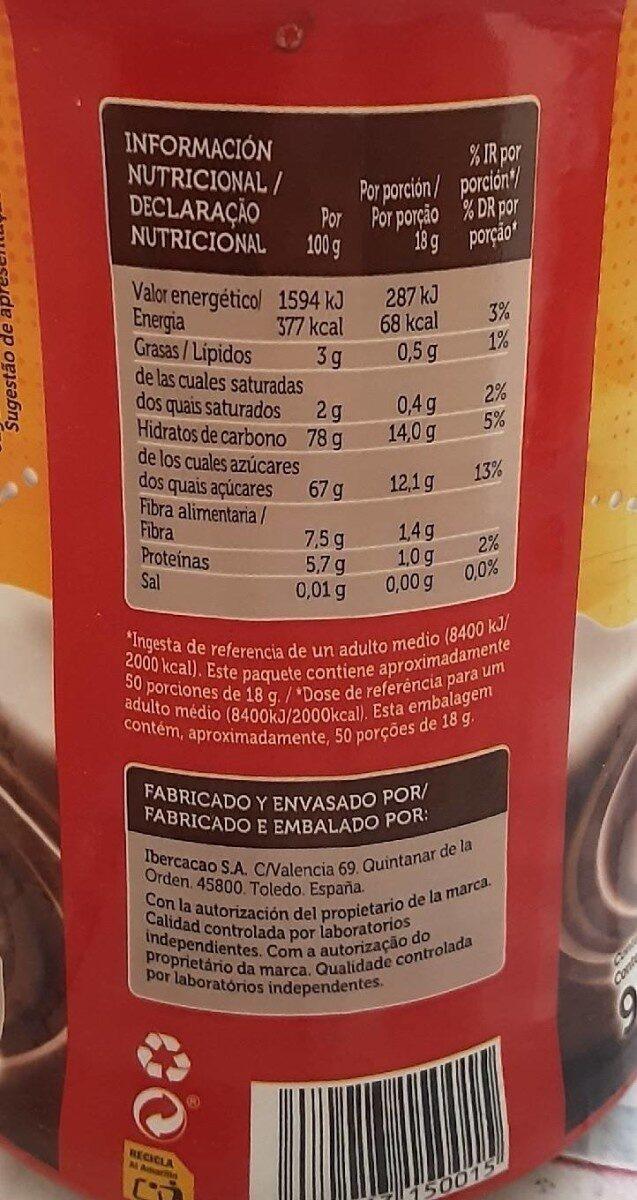 Cacao en polvo - Informations nutritionnelles - es