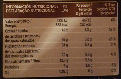 Chocolate negro - Voedingswaarden - es