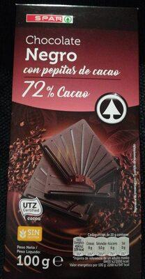 Chocolate negro con pepitas de cacao 72% Cacao