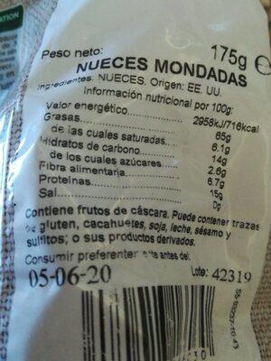 Nueces mondadas - Informations nutritionnelles