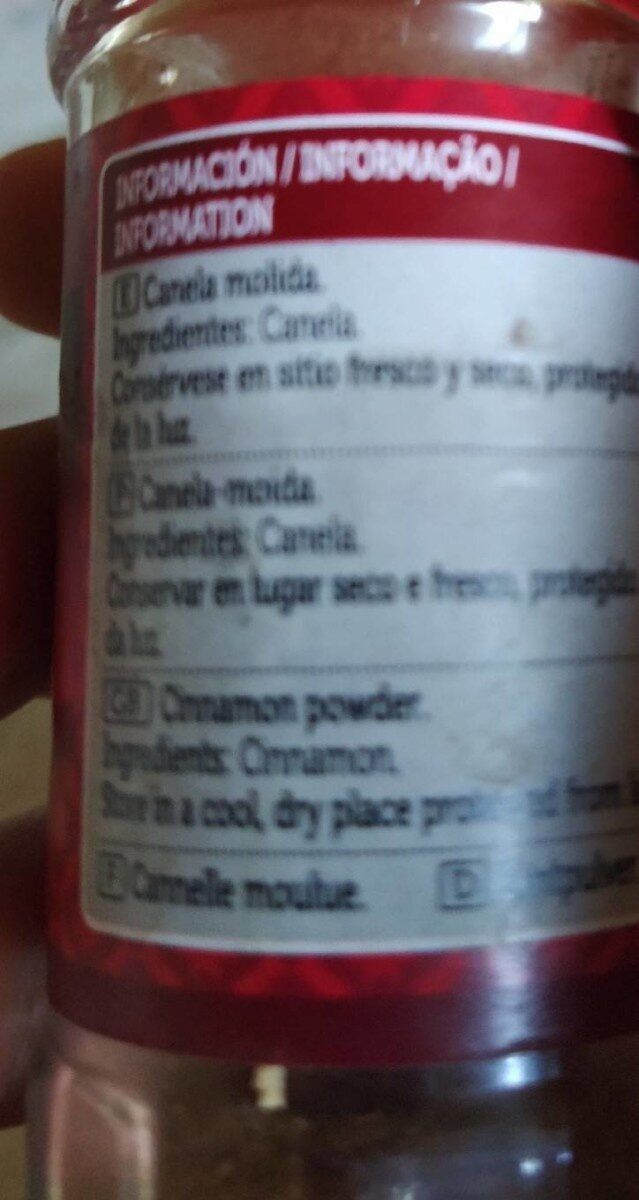 Canela molida - Nutrition facts