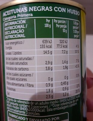 350 G-aceitunas Con Hueso - Nutrition facts - fr