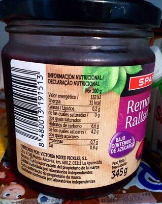 Remolacha rallada - Informations nutritionnelles - es