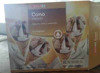 Cono helado sabores nata y caramelo
