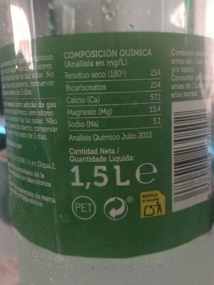 Agua mineral - Voedingswaarden
