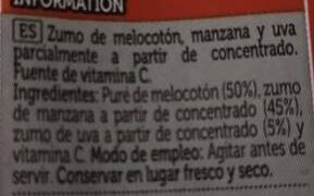 Zumo de melocotón - Ingredientes