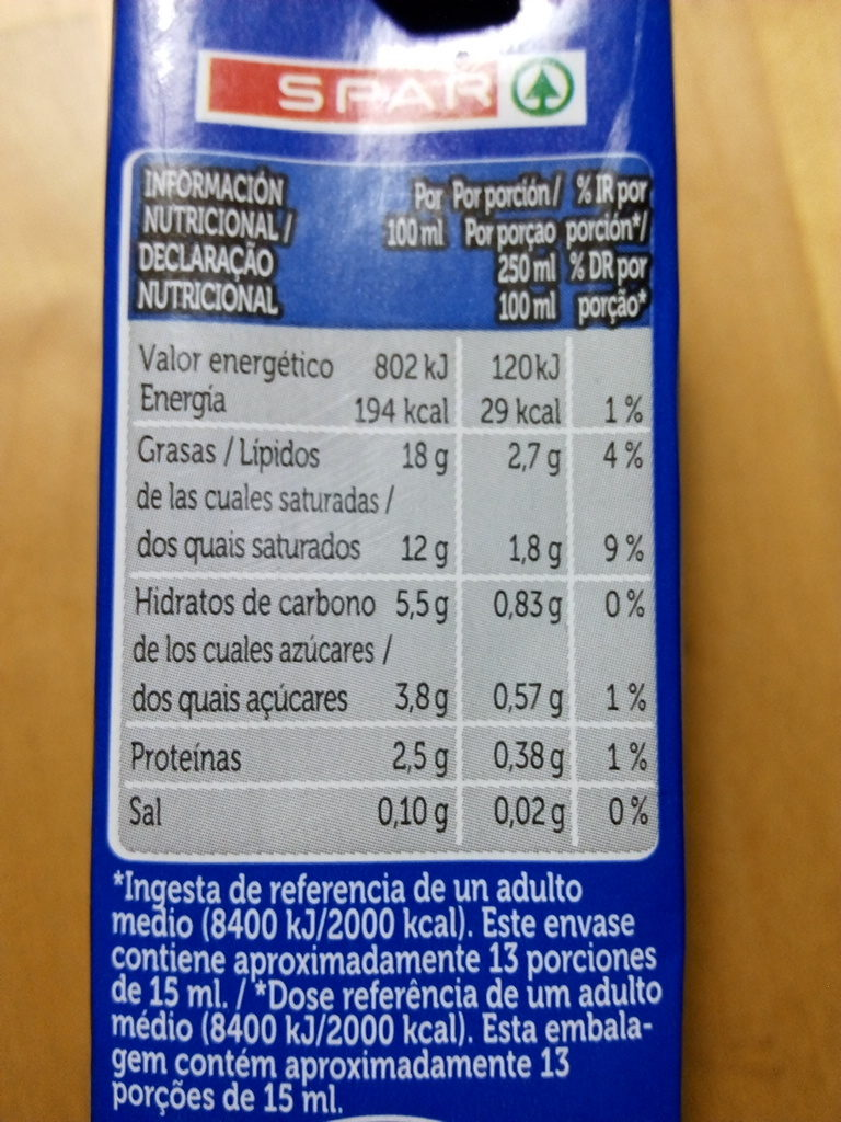 Nata ligera para cocinar - Información nutricional