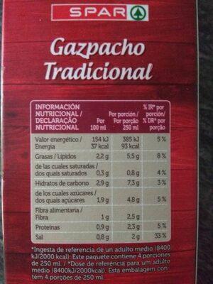 Gazpacho tradicional - Información nutricional - es