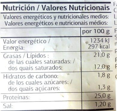 Queso tierno light - Información nutricional