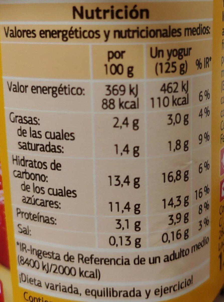 Yogur con frutas fresa - Informations nutritionnelles - es