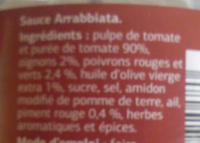 Sauce Arrabbiata Dia - Ingrédients