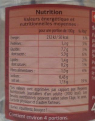 Sauce Arrabbiata Dia - Informations nutritionnelles