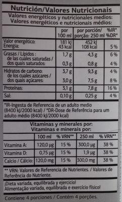 Bebida de soja - Información nutricional