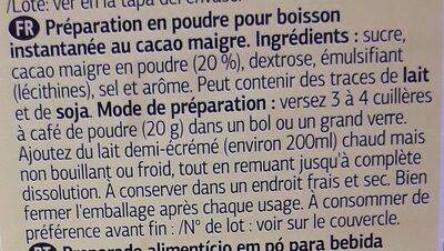 Boisson Cacaotée - Ingredientes