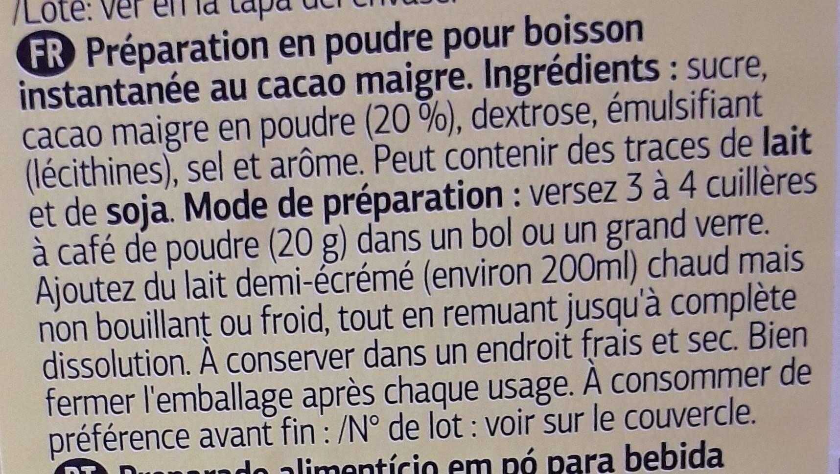 Boisson Cacaotée - Ingredientes - es