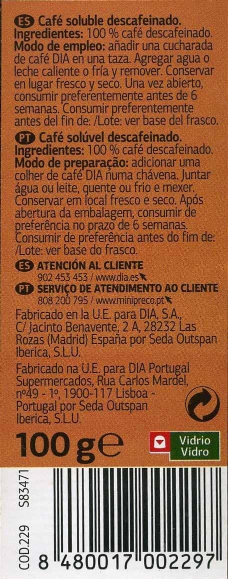 Café soluble descafeinado - Informations nutritionnelles - es