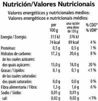 Melocotones en almíbar - Nutrition facts - es