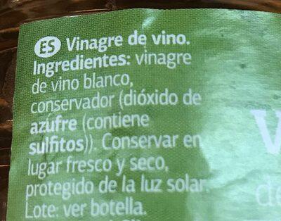 Vinagre de vino - Ingredientes - pt