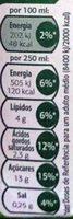 Leche semi desnatada - Informação nutricional