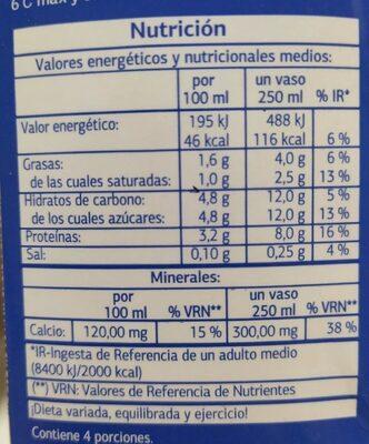 Leche semidesnatada - Voedingswaarden - pt