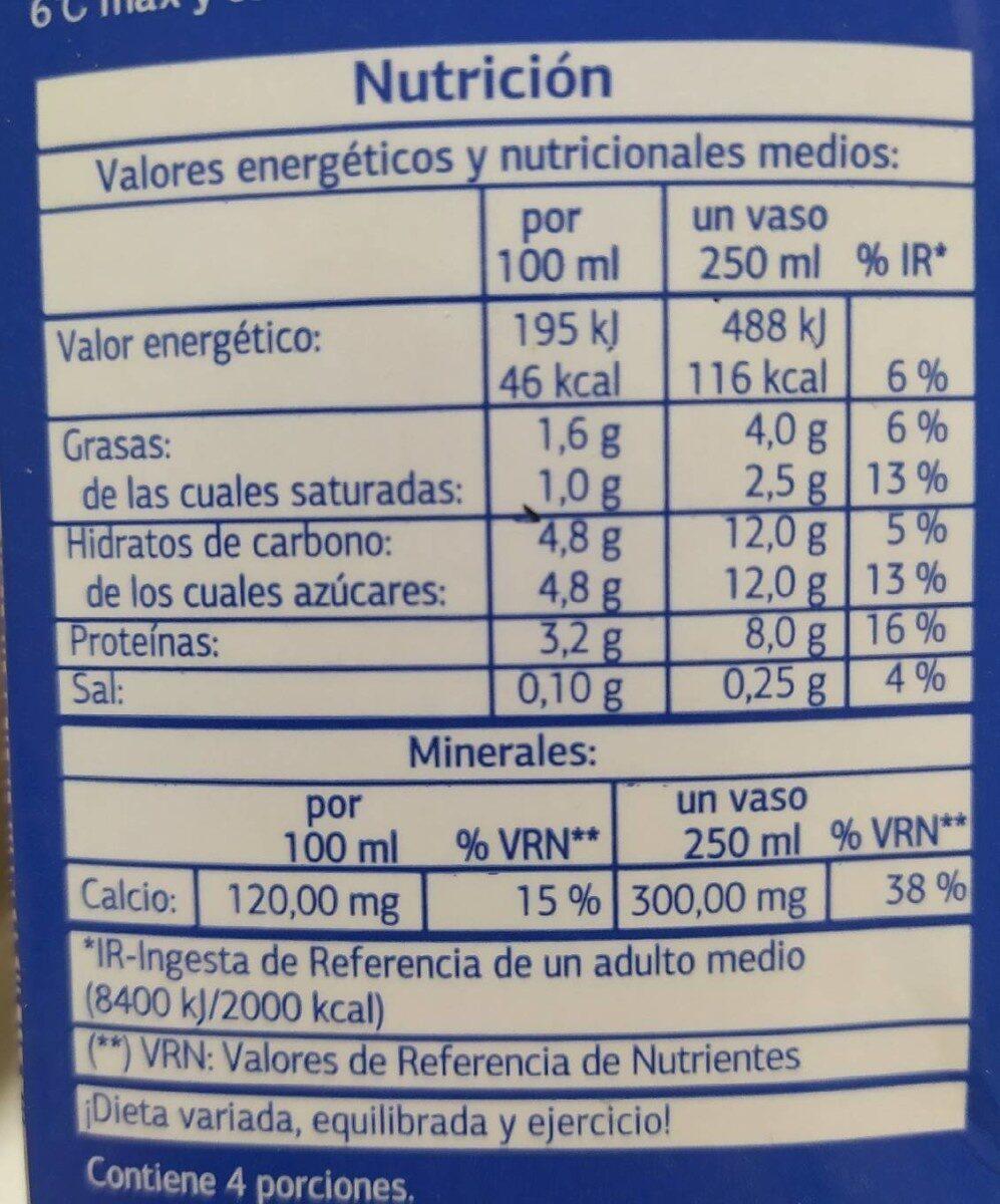 Leche semidesnatada - Informação nutricional - pt