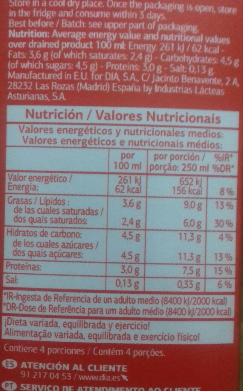 Leche entera - Voedingswaarden - es