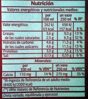 Leche entera - Informations nutritionnelles - fr