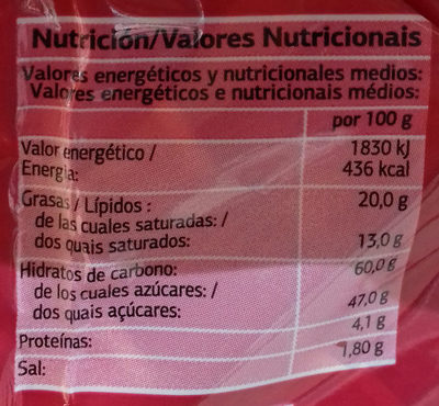 Bombones rellenos Cereza & Licor - Informació nutricional