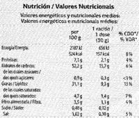 """Patatas fritas lisas """"Dia"""" en aceite de oliva - Información nutricional - es"""