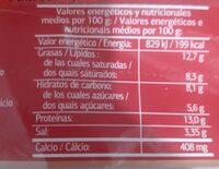 Queso fundido en lonchas - Informations nutritionnelles - fr