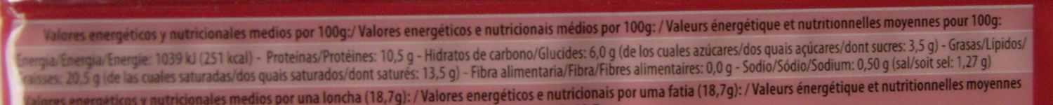 Fromage fondu tranches - Informations nutritionnelles