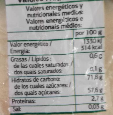 Pasas sultanas - Informations nutritionnelles - es