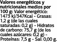 Arroz blanco Variedad Bomba - Nutrition facts - es