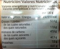 Turrón crujiente negro - Informations nutritionnelles