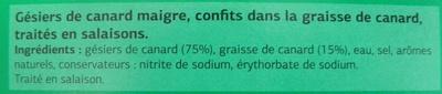 Gésiers de Canard, Confits dans la graisse de canard - Ingredients - fr