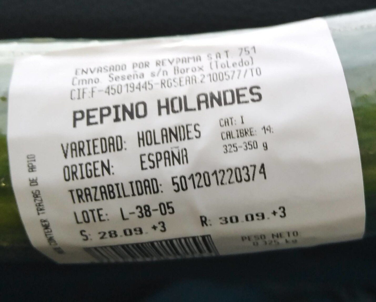 Pepino holandes - Informations nutritionnelles - es