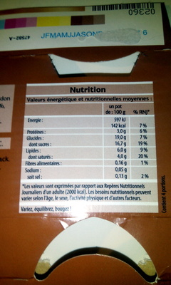 Liégeois café - Información nutricional