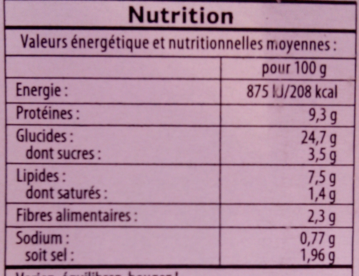 Maxi jambon oeufs - Nutrition facts
