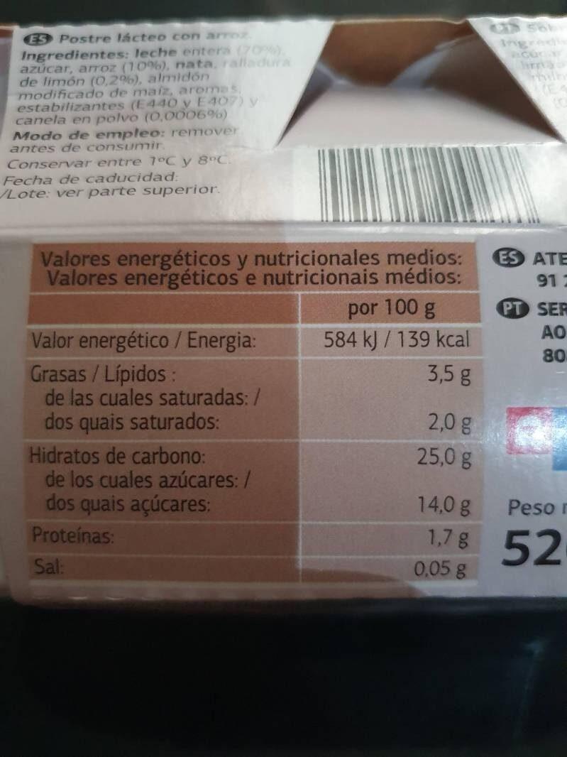 Arroz con leche - Voedigswaarden