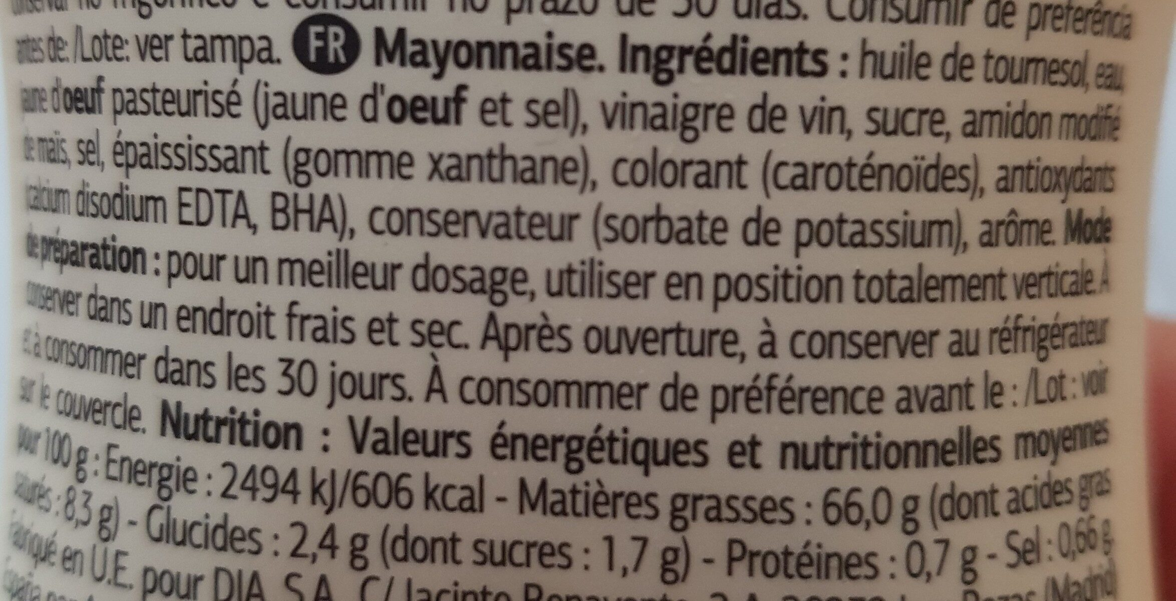 Mayonese - Ingrediënten - es