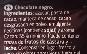 Chocolate negro - Ingredients