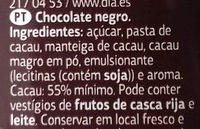 Chocolate negro - Ingredients