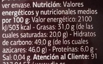 Chocolate negro - Informació nutricional