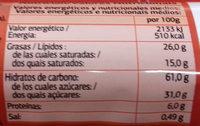 Aros de chocolate negro - Información nutricional