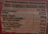 Aros de chocolate negro - Nutrition facts - es