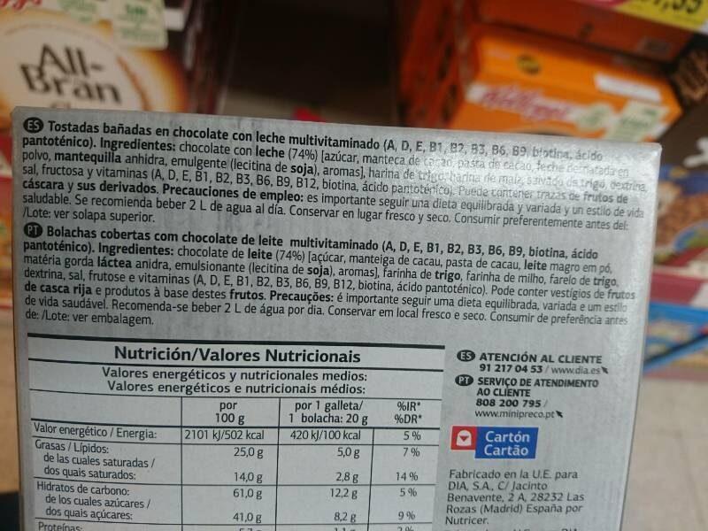 Snack multivitaminado Chocolate con Leche - Ingredientes