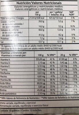 Snack multivitaminado Chocolate con Leche - Información nutricional